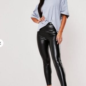 Missguided Black Faux Leather Pants/Leggings